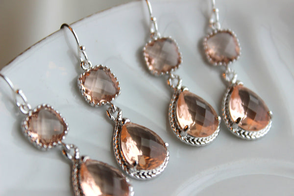 READY TO SHIP 15% Off Set of 6 Wedding Jewelry Bridesmaid Earrings Bridal Bridesmaid Two Tier Champagne Blush Earrings Peach Silver Teardrop