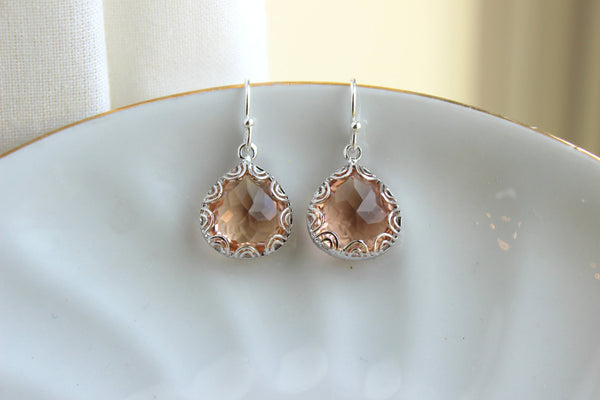 Silver Champagne Blush Earrings Peach Pink Jewelry - Pear Shaped Design - Silver Blush Bridesmaid Earrings Champagne Peach Wedding Earrings