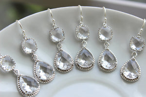 READY TO SHIP 15% Off Set of 9 Wedding Jewelry Crystal Clear Bridesmaid Earrings Bridal Bridesmaid Two Tier Crystal Earrings Silver Teardrop