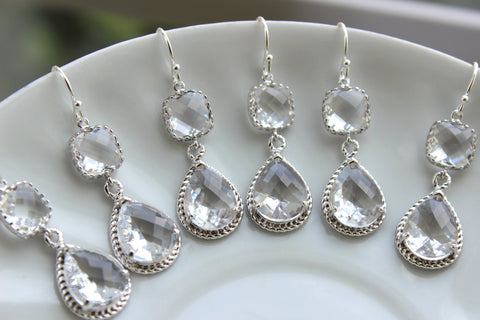 READY TO SHIP 15% Off Set of 8 Wedding Jewelry Crystal Clear Bridesmaid Earrings Bridal Bridesmaid Two Tier Crystal Earrings Silver Teardrop