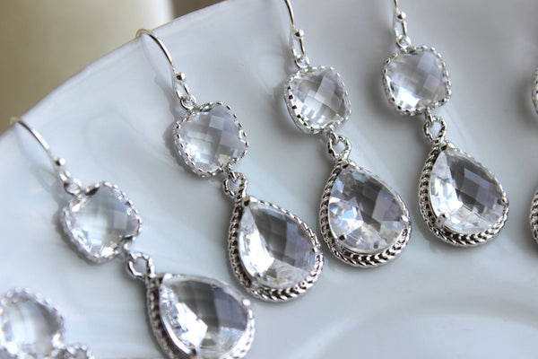 READY TO SHIP 10% Off Set of 4 Wedding Jewelry Crystal Clear Bridesmaid Earrings Bridal Bridesmaid Two Tier Crystal Earrings Silver Teardrop