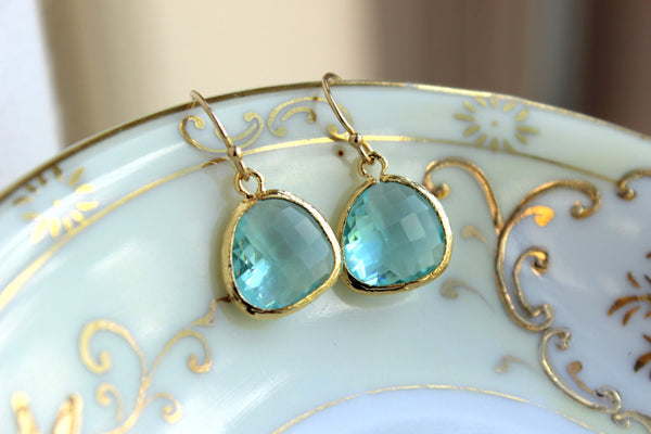 Aquamarine Blue Earrings Gold Plated - Aquamarine Bridesmaid Earrings - Wedding Earrings - Aqua Bridal Earrings - Blue Topaz Bridal Jewelry