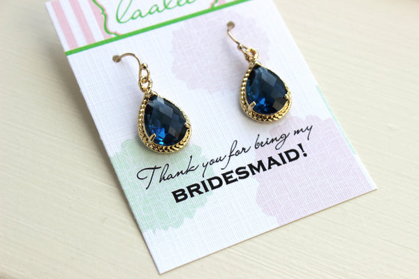 Sapphire Earrings Gold - Navy Blue Wedding Jewelry - Sapphire Bridesmaid Earrings Bridesmaid Gift Bridal Jewelry Personalized Thank You Note