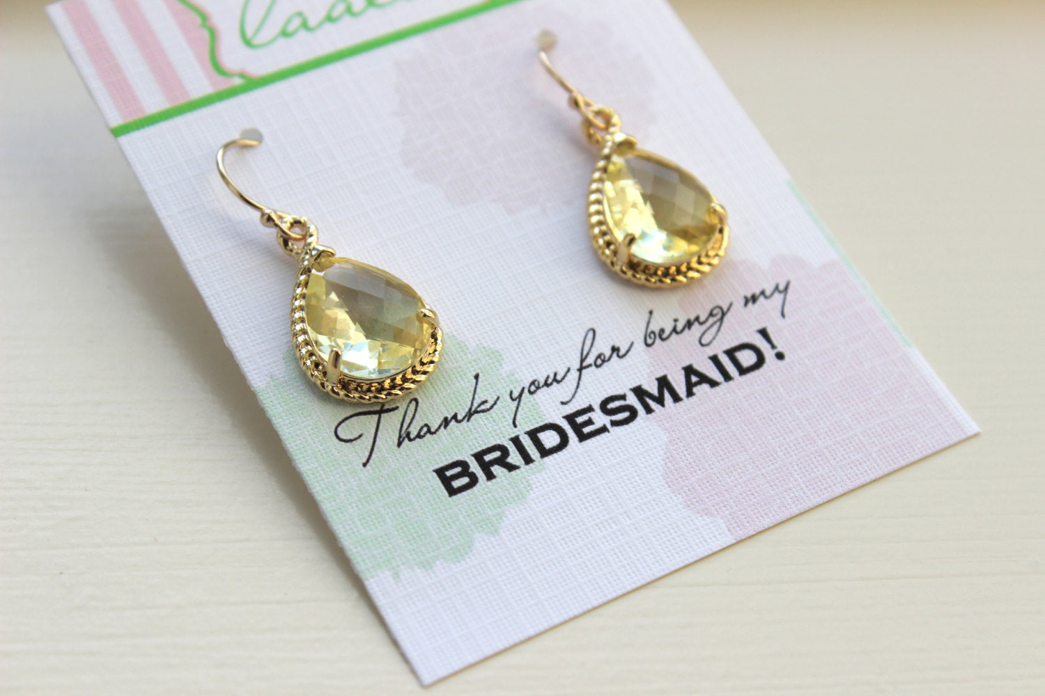 Yellow Citrine Earrings Gold Wedding Jewelry - Citrine Bridesmaid Earrings Bridesmaid Gift Yellow Bridal Jewelry Personalized Thank You Note