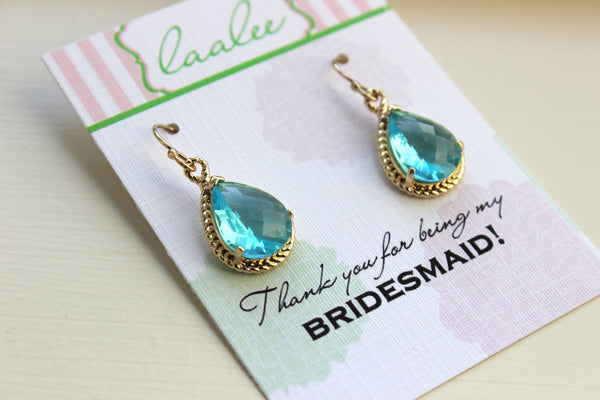 Aquamarine Earrings Gold Wedding Jewelry - Blue Topaz Bridesmaid Earrings Bridesmaid Gift Blue Bridal Jewelry Personalized Thank You Note