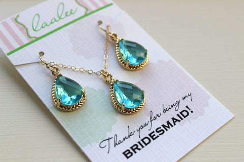 Aquamarine Earring Necklace Set Gold - Aquamarine Wedding Jewelry Set Topaz Blue Bridesmaid Jewelry Bridal Gift Personalized Note Card