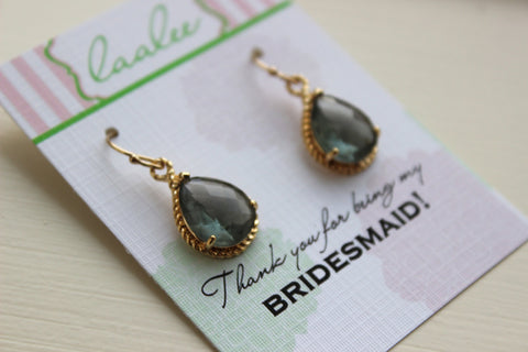 Charcoal Gray Earrings Gold Wedding Jewelry - Grey Bridesmaid Earrings Bridesmaid Gift Charcoal Bridal Jewelry Personalized Thank You Note
