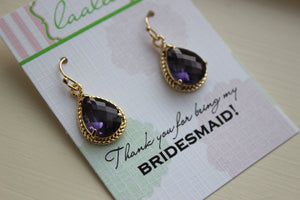 Amethyst Earrings Gold Wedding Jewelry - Tanzanite Purple Bridesmaid Earrings Bridesmaid Gift Bridal Jewelry Personalized Thank You Note