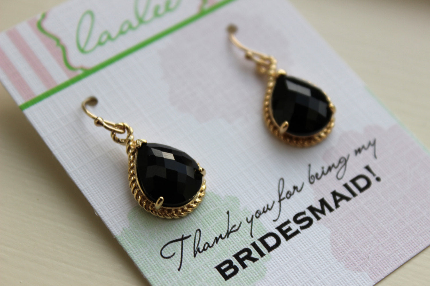 Black Earrings Gold Wedding Jewelry - Jet Black Bridesmaid Earrings Bridesmaid Gift Black Bridal Jewelry Set Personalized Thank You Note