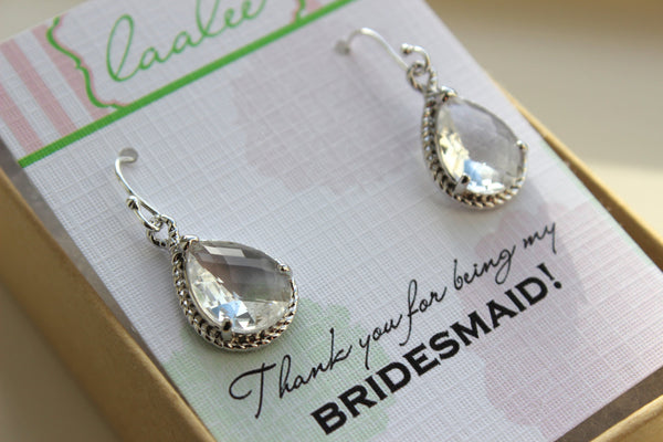 Crystal Earrings Silver Crystal Wedding Jewelry Crystal Clear Bridesmaid Earrings Bridesmaid Gift Bridal Jewelry Personalized Thank You Note