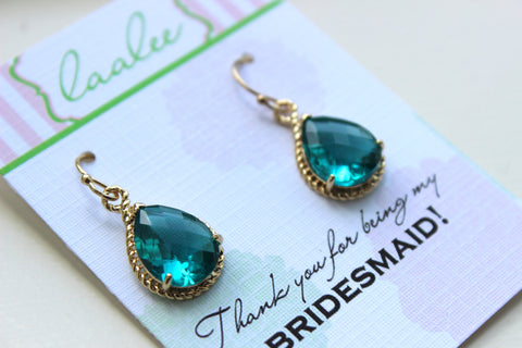 Topaz Earrings Gold Wedding Jewelry - Sea Blue Bridesmaid Earrings Bridesmaid Gift Blue Bridal Jewelry Personalized Note - Something Blue