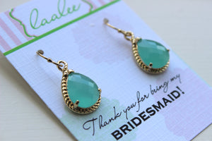 Mint Earrings Gold Wedding Jewelry - Aqua Blue Mint Bridesmaid Earrings Bridesmaid Gift Mint Green Bridal Jewelry Personalized Note