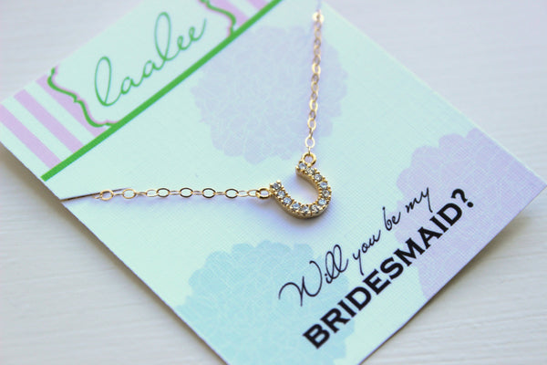 Gold Horseshoe Necklace CZ Crystal Horse Shoe Jewelry - Simple Charm Necklace - Charm Jewelry - Will you be my bridesmaid gift under 25