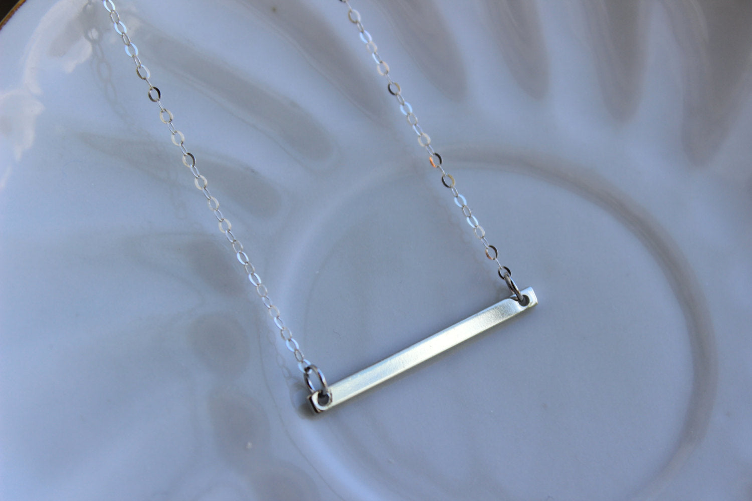 Silver Bar Necklace Statement Jewelry - Silver Bar Charm Necklace - Gift Under 20 - Simple Dainty Jewelry Long Bar Necklace Bridesmaid Gift