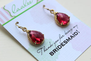 Ruby Red Earrings Gold Wedding Jewelry - Bridesmaid Earrings Bridesmaid Gift Bridal Jewelry Personalized Thank You For Being My Bridesmaid