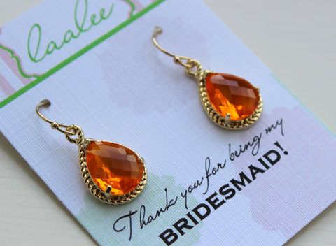 Gold Burnt Orange Earrings Tangerine Wedding Jewelry Bridesmaid Earrings Bridesmaid Gift Bridal Jewelry Personalized Note Tangerine Jewelry