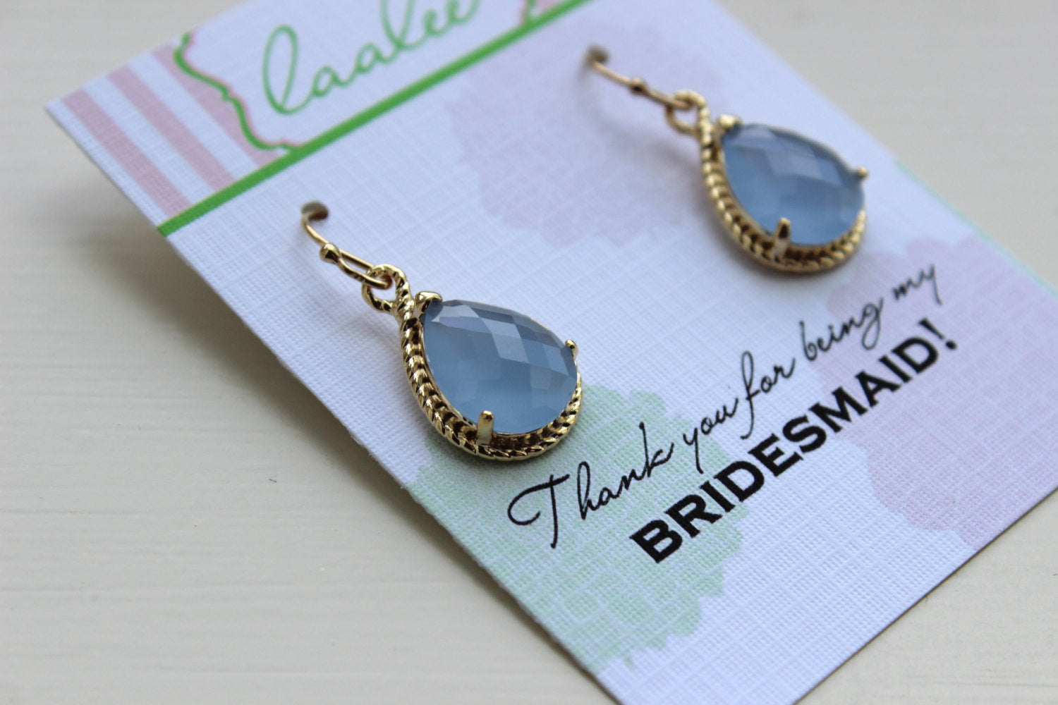 Gold Periwinkle Earrings Wedding Jewelry - Blue Bridesmaid Earrings Bridesmaid Gift - Periwinkle Bridesmaid Personalized Jewelry Under 25