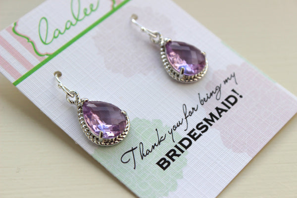 Silver Lavender Earrings Wedding Jewelry Purple Lilac Bridesmaid Earrings Bridesmaid Gift Lavender Wedding Jewelry Purple Gift Under 25