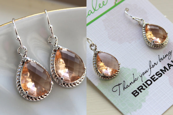 Silver Blush Earrings - Champagne Peach Wedding Jewelry Pink Blush Bridesmaid Earrings Personalized Gift Under 25 - Silver Bridal Jewelry