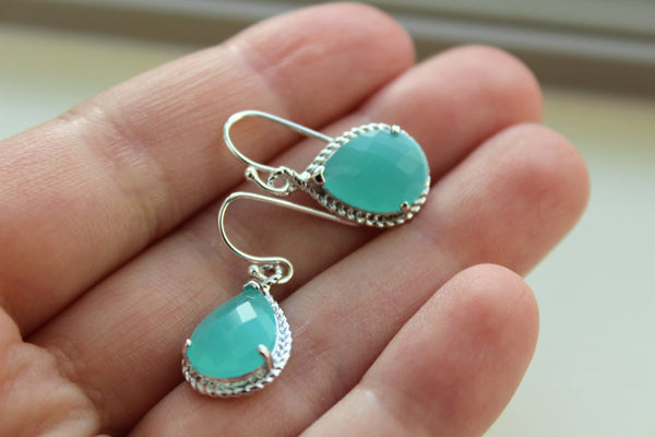 Silver Blue Mint Earrings Wedding Jewelry - Aqua Blue Mint Bridesmaid Earrings Gift Personalized Under 25 Mint Green Bridal Jewelry