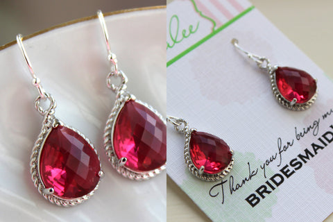 Silver Ruby Red Earrings Wedding Jewelry - Bridesmaid Earrings Bridesmaid Gift Bridal Jewelry Personalized Thank You For Being My Bridesmaid