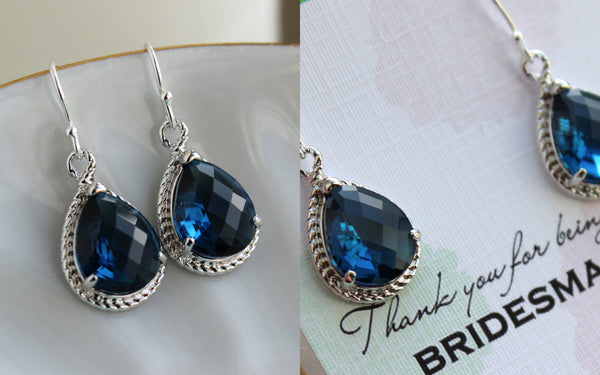 Sapphire Earrings Silver Navy Blue Wedding Jewelry - Sapphire Bridesmaid Earrings Bridesmaid Gift Bridal Jewelry Personalized Thank You Note