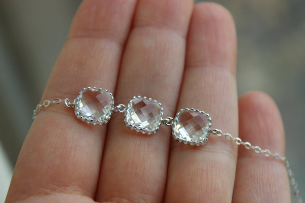 Silver Crystal Bracelet - Bridesmaid Gift Crystal Wedding Jewelry - Clear Bridesmaid Bracelet Silver Jewelry Accessories Gift under 30
