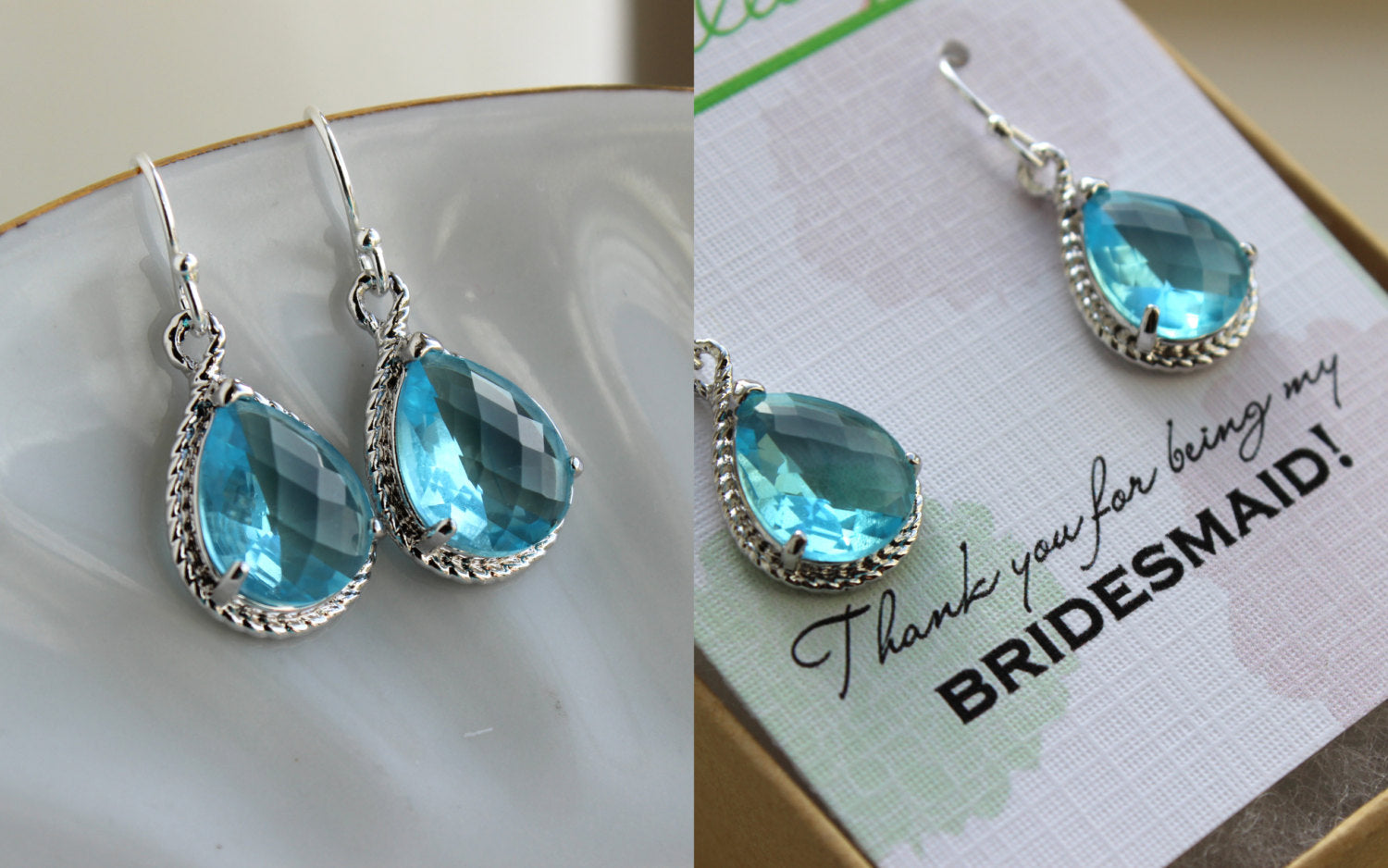 Silver Aquamarine Earrings Wedding Jewelry - Blue Topaz Bridesmaid Earrings Bridesmaid Gift Blue Bridal Jewelry Personalized Thank You Note
