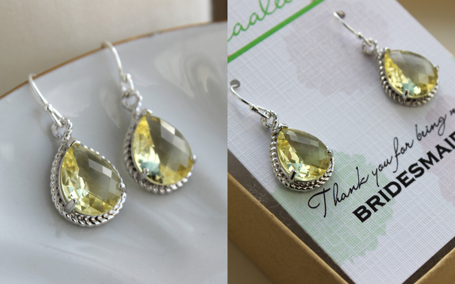 Yellow Citrine Earrings Silver Wedding Jewelry Citrine Bridesmaid Earrings Bridesmaid Gift Yellow Bridal Jewelry Personalized Thank You Note