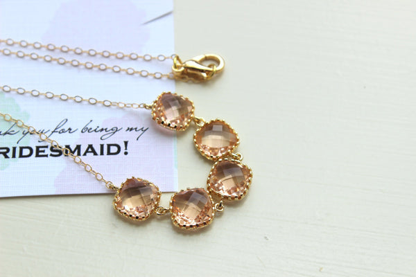 Gold Peach Blush Necklace - Bridesmaid Gift Pink Wedding Jewelry - Champagne Blush Bridesmaid Necklace Gold Pink Blush Jewelry Gift under 35