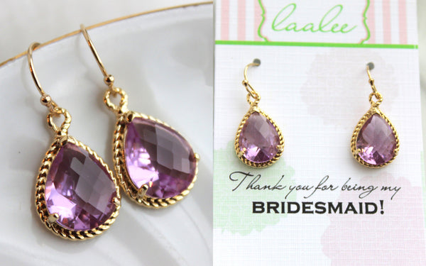 Gold Lavender Earrings Wedding Jewelry Purple Bridesmaid Earrings Bridesmaid Gift Lavender Lilac Wedding Jewelry Personalized Gift Under 25