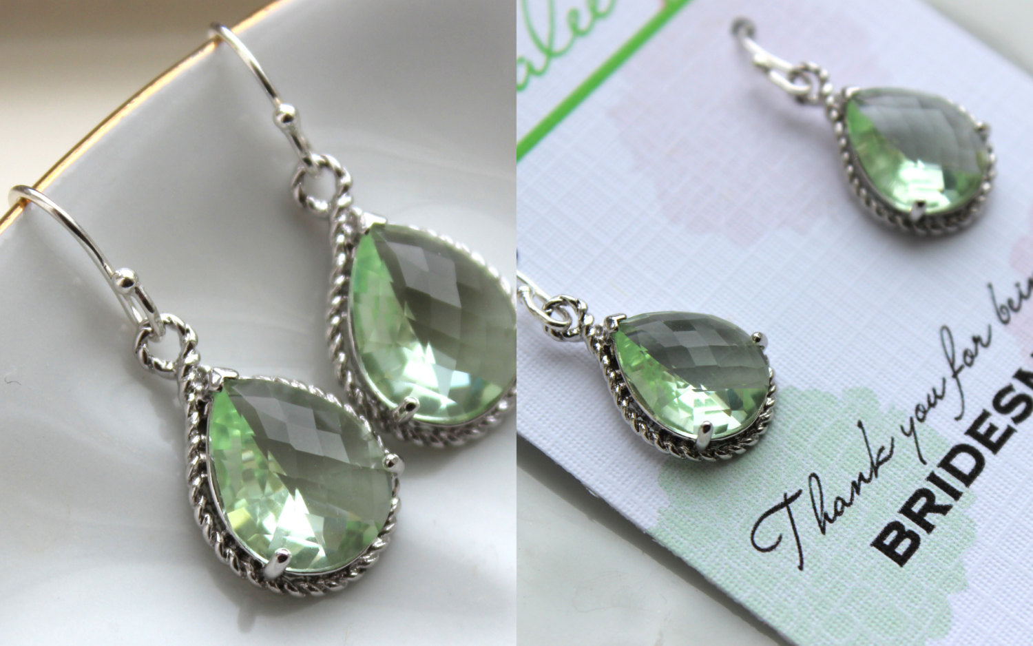 Silver Prasiolite Earrings Light Green Wedding Jewelry Prasiolite Green Bridesmaid Earrings Gift Bridal Jewelry Personalized Gift Under 25
