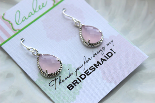 Silver Pink Opal Earrings Wedding Jewelry - Blush Pink Bridesmaid Earrings Bridesmaid Gift Pink Bridal Jewelry Personalized Thank You Note