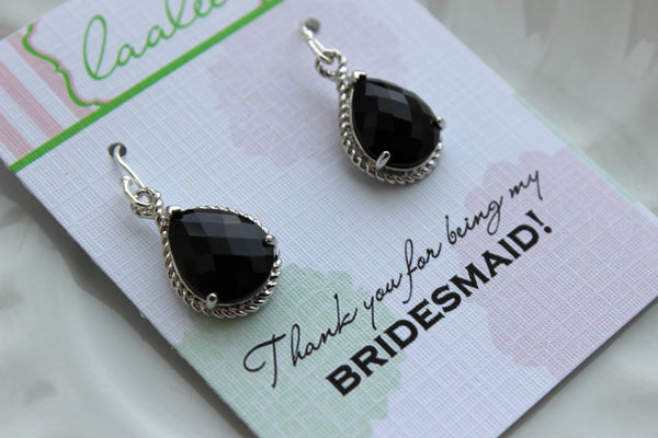 Silver Black Earrings Wedding Jewelry - Jet Black Bridesmaid Earrings Bridesmaid Gift Black Bridal Jewelry Set Personalized Thank You Note