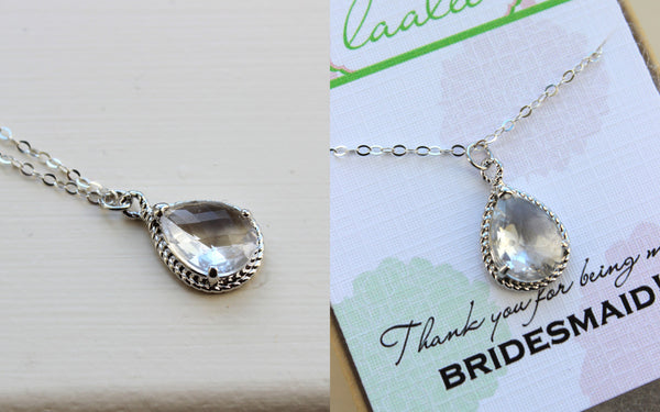 Silver Crystal Necklace Clear Jewelry - Sterling Silver Chain - Wedding Necklace Jewelry Bridesmaid Gift Jewelry - Crystal Bridal Jewelry