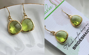 Gold Peridot Earrings Apple Green Wedding Jewelry Peridot Bridesmaid Earrings Gift Peridot Green Bridal Jewelry Personalized Gift Under 25