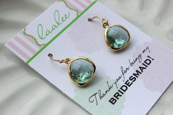 Gold Prasiolite Green Earrings Wedding Jewelry Light Green Bridesmaid Earrings Gift Prasiolite Bridal Jewelry Personalized Gift Under 25