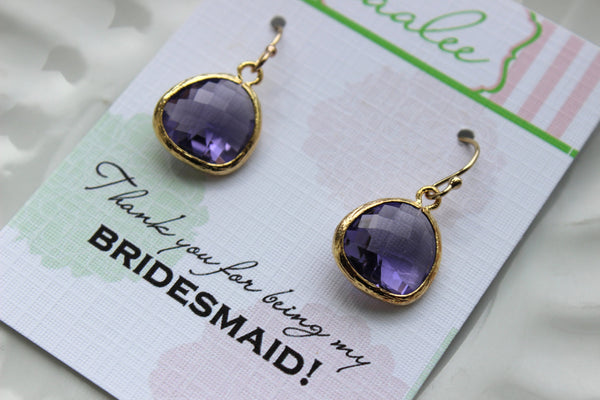 Gold Tanzanite Earrings Purple Wedding Jewelry Tanzanite Bridesmaid Earrings Gift Violet Purple Bridal Jewelry Personalized Gift Under 25