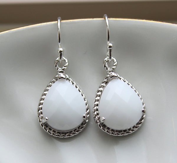 Silver White Opal Earrings White Wedding Jewelry Bridesmaid Earrings Gift White Opal Cream Bridal Jewelry Personalized Gift Under 25