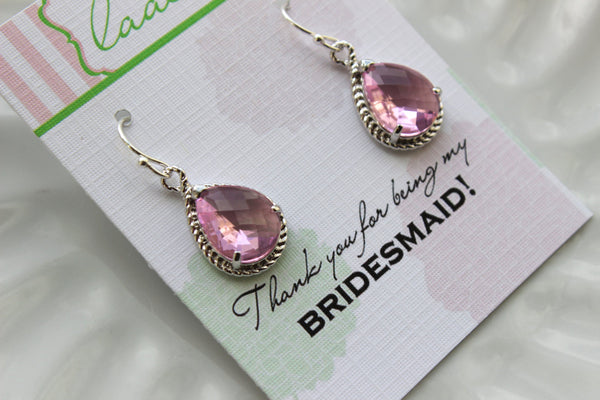 Silver Light Pink Earrings Blush Wedding Jewelry - Light Pink Bridesmaid Earrings Bridesmaid Gift Pink Blush Bridal Jewelry Personalized
