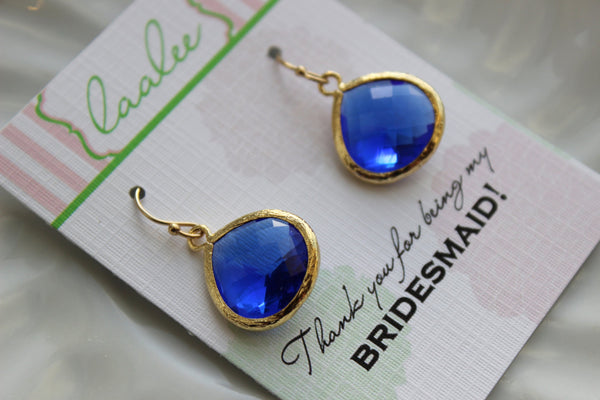 Gold Large Cobalt Earrings Electric Blue Wedding Jewelry Cobalt Blue Bridesmaid Earrings Gift Electric Blue Personalized Gift Under 25