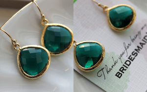 Gold Large Emerald Green Earrings Jade Wedding Jewelry Green Bridesmaid Earrings Gift Emerald Dark Hunter Green Personalized Gift Under 25