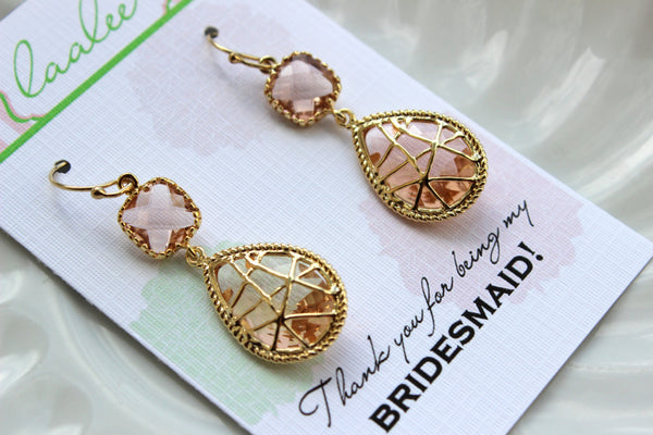 Gold Blush Earrings Twisted Two Tier Champagne Peach Wedding Jewelry Pink Blush Bridesmaid Earrings Gift Peach Bridal Jewelry Gift Under 35