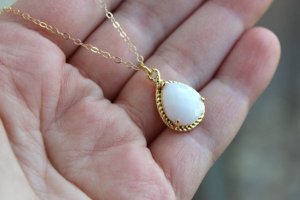 Gold White Opal Necklace - Cream Milk White Wedding Necklace Jewelry Bridesmaid Gift Jewelry - White Opal Bridal Jewelry - Gift Under 30