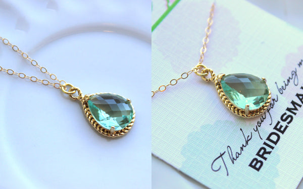 Gold Prasiolite Necklace Green Jewelry - Wedding Necklace Green Bridesmaid Jewelry - Prasiolite Bridal Jewelry Bridesmaid Gift Under 30