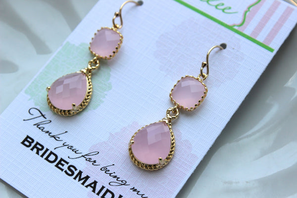Blush Pink Jewelry Gold Bridesmaid Earrings - Blush Pink Earring - Bridesmaid Jewelry - Pink Earings - Wedding Jewelry - Wedding Earrings TT
