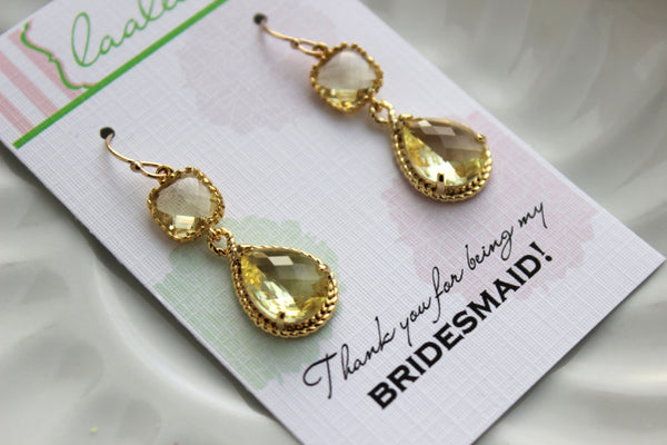 Gold Citrine Earrings Two Tiered - Yellow Topaz Wedding Jewelry - Citrine Yellow Bridesmaid Earrings Gift Bridal Jewelry - Gift Under 35