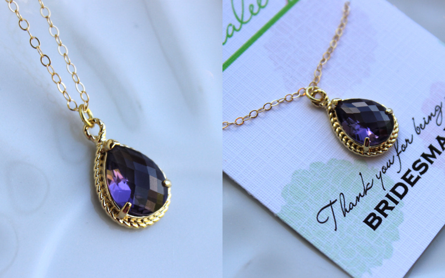 Gold Amethyst Necklace Purple Tanzanite Wedding Necklace Jewelry Bridesmaid Gift Jewelry Plum Purple Jewelry Amethyst Gift Under 30