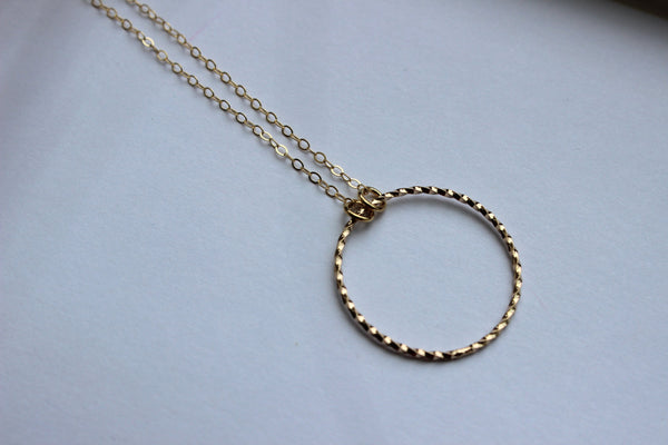 Gold Round Circle Necklace Statement Jewelry - Eternity Circle Charm Necklace - Gift Under 20 - Simple Dainty Gold Jewelry Bridesmaid Gift