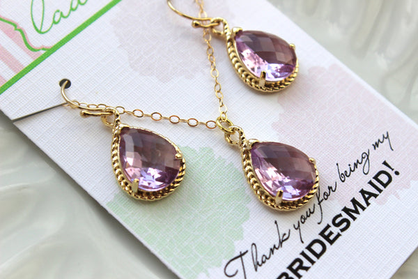 Gold Lavender Earring Necklace Set Lilac Jewelry Set - Purple Wedding Jewelry Set Bridesmaid Jewelry Bridal Gift Personalized Note Card
